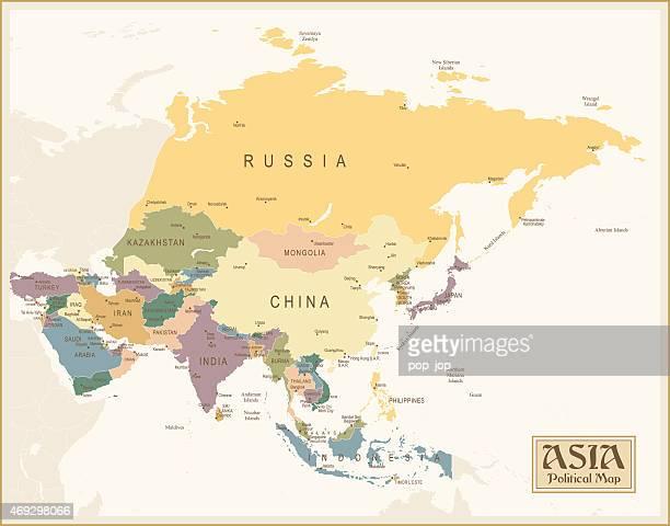 Vintage Karte von Asien