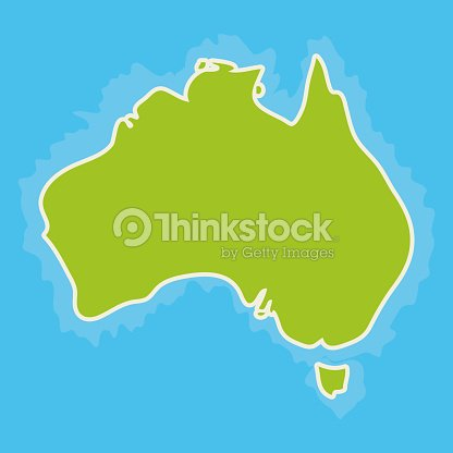 Map Of Australia Continent And Blue Indian Ocean Vector Vector Art ...