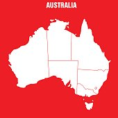 Vector Illustration of the Map of Australia in red back ground.