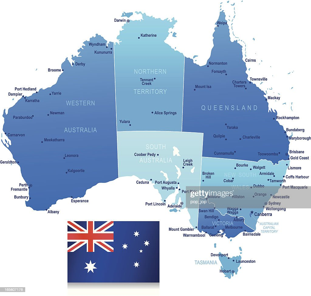 Map Of Australia States Cities And Flag Vector Art Getty Images - Map of australia with cities