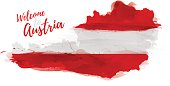 Symbol, poster, banner Austria. Map of Austria with the decoration of the national flag. Style watercolor drawing. Vector illustration