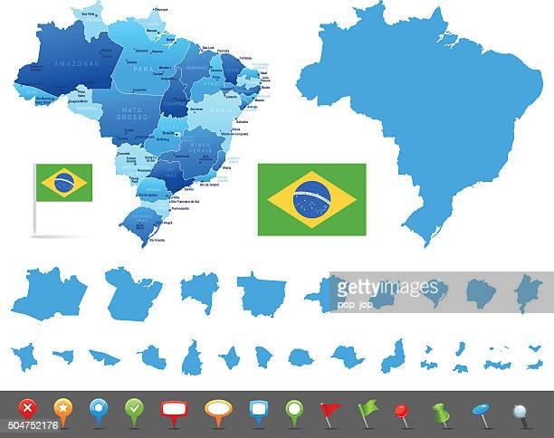 Karte von Brasilien mit Staaten, Städte und navigation Symbole