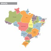 Map of Brazil with divisions of states