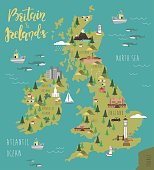 Illustration map with animals, nature and landmarks. Vector illustration