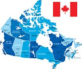 Vector Map of Canada with borders, cities and national flag.All elements are separated in editable layers