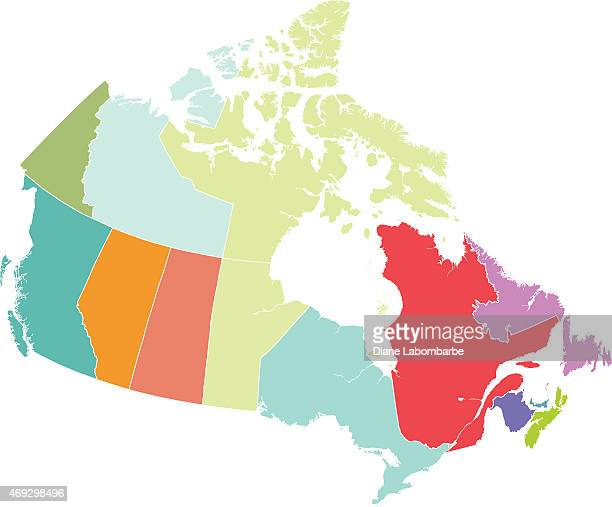 Map of Canada with Each Province in Different Colors
