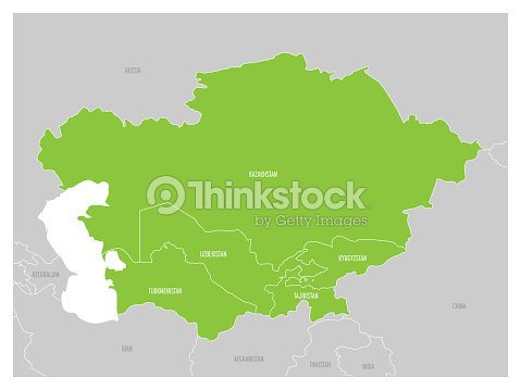 Map Of Central Asia Region With Green Highlighted Kazakhstan ...