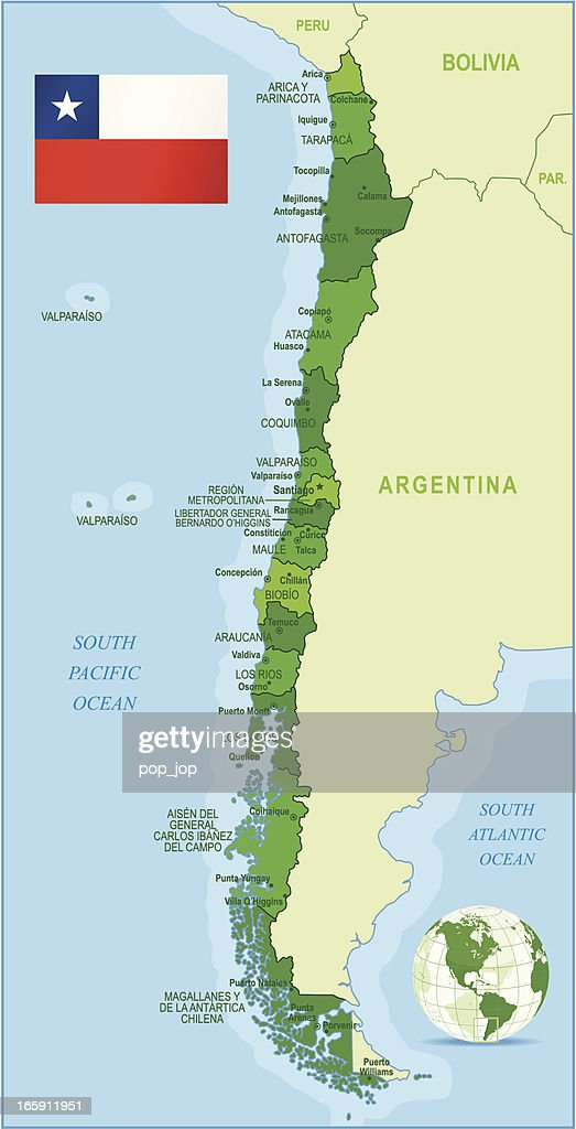 Map Of Chile States Cities And Flag Vector Art Getty Images - Chile cities maps