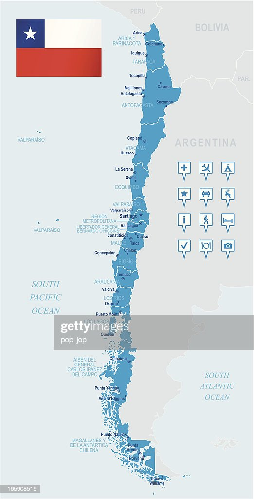 Chile Vector Map Regions Isolated Vector Art Getty Images - Chile physical map