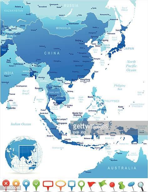 Map of East Asia-Ländern und Städten und navigation Symbole