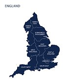 Map of England with counties UK, Vector.