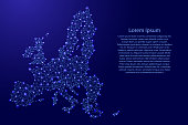 Map of European Union from polygonal blue lines and glowing stars vector illustration