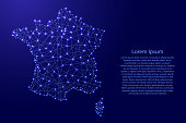 Map of France from polygonal blue lines and glowing stars vector illustration