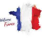 Symbol, poster, banner France. Map of France with the decoration of the national flag. Style watercolor drawing. France map with national flag. Vector illustration