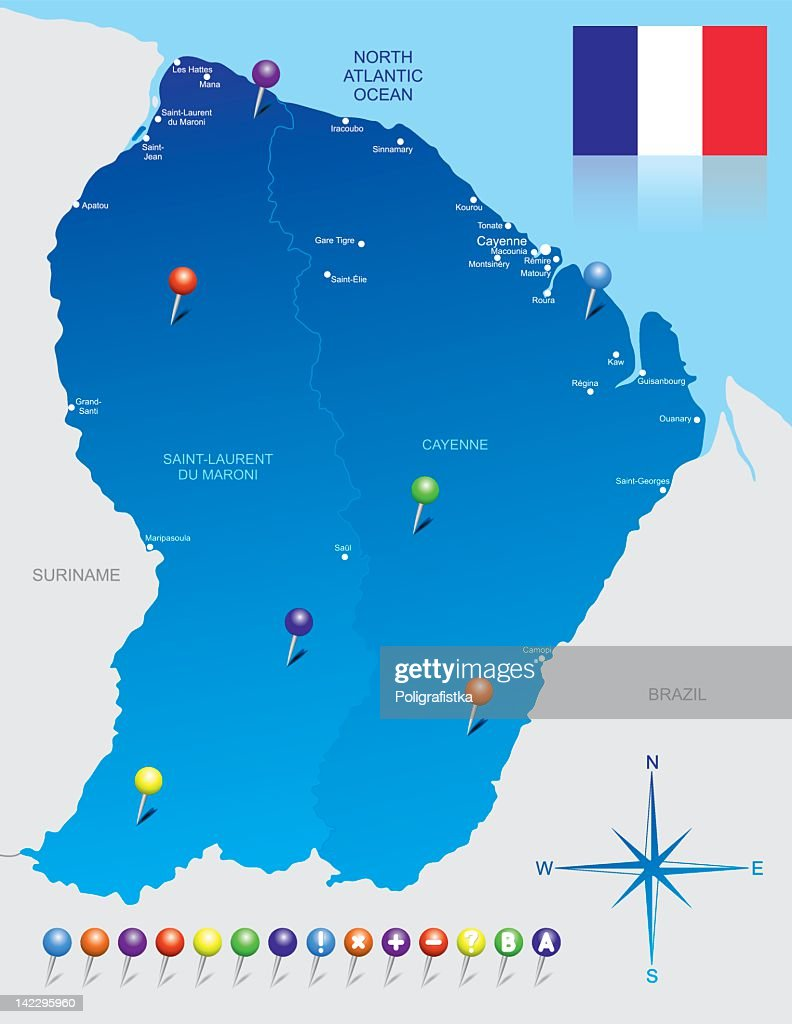 Map Of French Guiana Vector Art Getty Images - Map of french guiana world