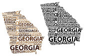 Sketch Georgia (United States of America) letter text map, Georgia map - in the shape of the continent, Map Georgia (U.S. state) - brown and black vector illustration