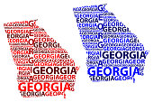 Sketch Georgia (United States of America) letter text map, Georgia map - in the shape of the continent, Map Georgia (U.S. state) - red and blue vector illustration
