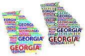 Sketch Georgia (United States of America) letter text map, Georgia map - in the shape of the continent, Map Georgia (U.S. state) - color vector illustration
