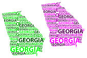 Sketch Georgia (United States of America) letter text map, Georgia map - in the shape of the continent, Map Georgia (U.S. state) - green and purple vector illustration