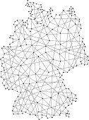 Map of Germany from polygonal black lines and dots of vector illustration