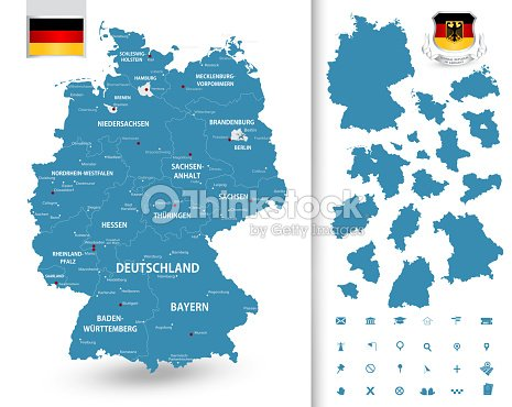 Map Of Germany With Its Federal States Vector Art   Thinkstock