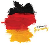 Symbol, poster, banner Germany. Map of Germany with the decoration of the national flag. Style watercolor drawing. Germany map with national flag. Vector illustration