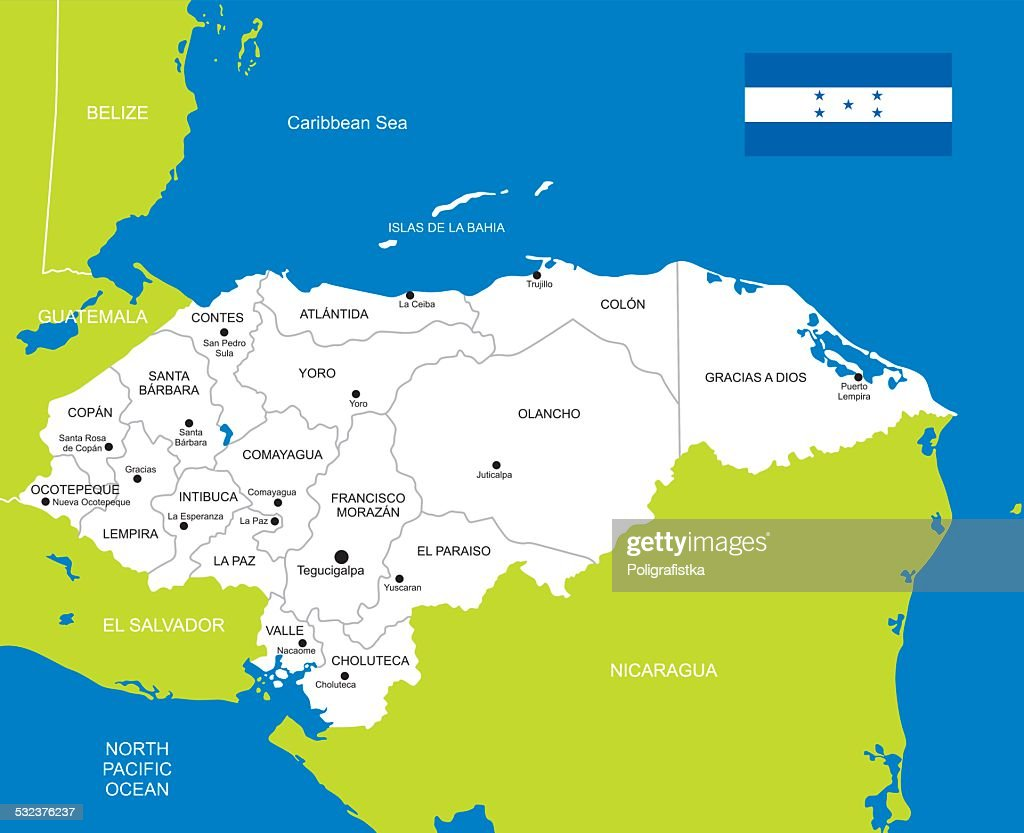 Detailed Vector Map Of Honduras Vector Art Getty Images - Map of honduras