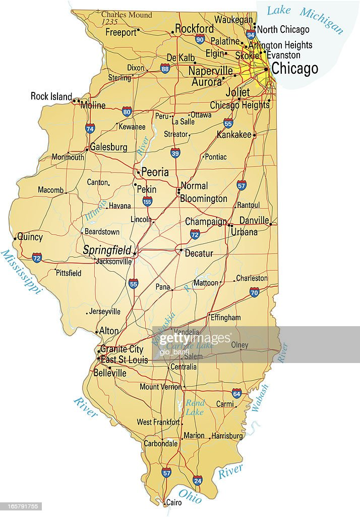 Map Of Illinois Showing Major Cities And Roads Vector Art Getty - Illinois cities map