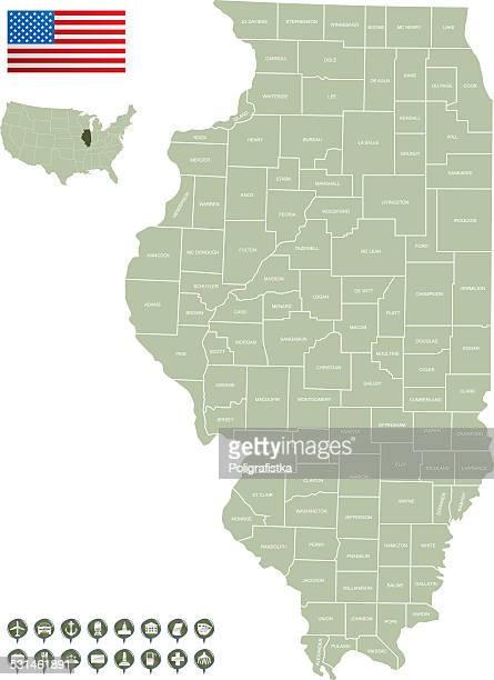 Ilustraciones De Stock Y Dibujos De Chicago Illinois Getty Images - Mapa de illinois