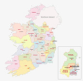 Vector map of ireland administrative divisions on counties level.