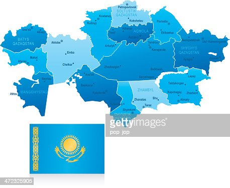 Map Of Kazakhstan States Cities And Flag Vector Art Getty Images - Kazakhstan map