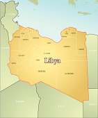 Precise illustration of map of Libya.