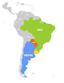 Map of MERCOSUR countires. South american trade association. Highlighted member states Brazil, Paraguay, Uruguay and Argetina. Since December 2016.