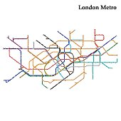 Map of London metro,  Template of city transportation scheme for underground road. Vector illustration.