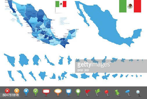 Map Of Mexico States Cities And Navigation Icons Vector Art – Map of States of Mexico
