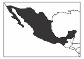 A simplified map of Mexico in the North America