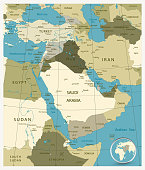 Map of Middle East and Asia. Military Colors.