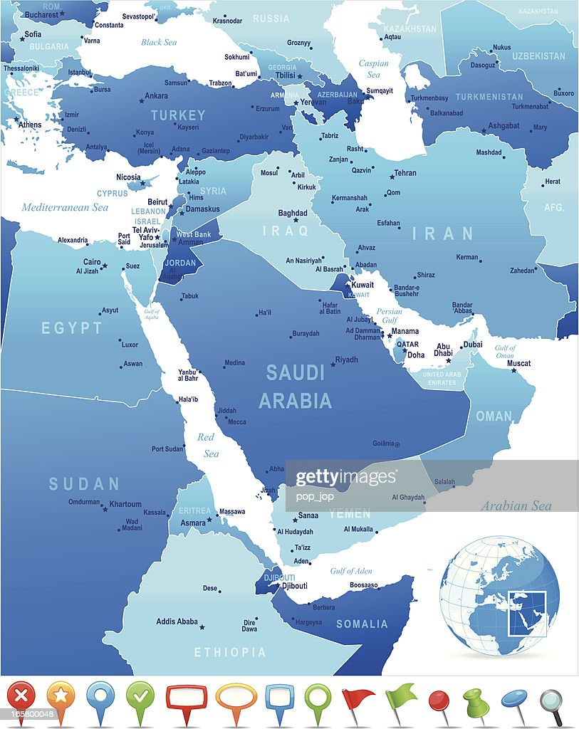 Map Of Middle East Countries Cities And Navigation Icons Vector
