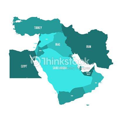 Nahost Karte.Karte Von Nahost Oder Nahen Osten In Den Farben Blautürkis Einfachen