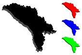 3D map of Moldova (Republic of Moldova) - black, red, blue and green - vector illustration