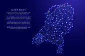Map of Netherlands from polygonal blue lines and glowing stars vector illustration