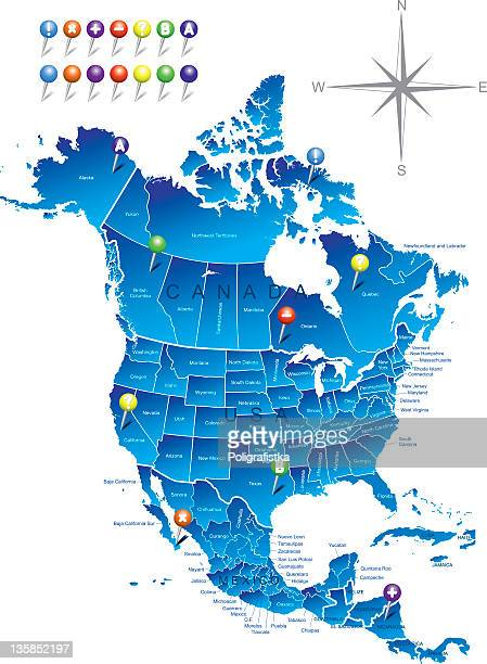 A map of North America in blue with nails
