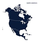 Map of North America. Vector