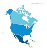 Map of North America. Vector.