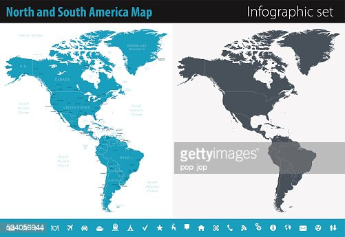 North And South America Infographic Map Illustration Vector Art - North and south america map