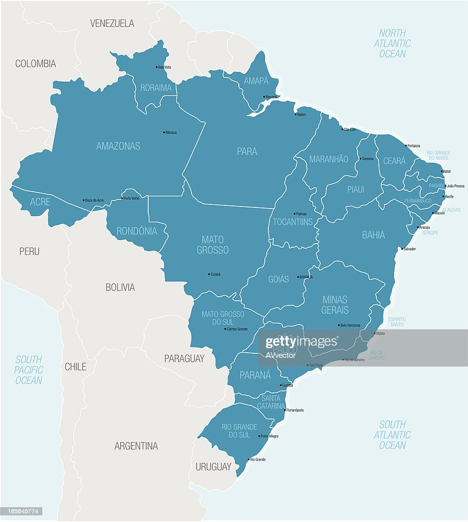 Map Of Northern South America Highlighting Brazil Vector Art - South america map brazil