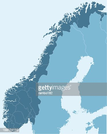 Norway Vector Map Vector Art Getty Images - Norway map detailed