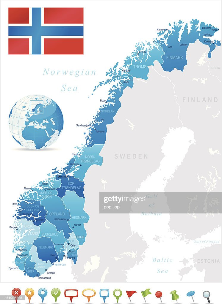 Map Of Norway States Cities Flag And Icons Vector Art Getty Images - Norway map cities