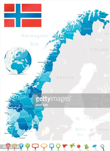 Map Of Norway States Cities Flag And Icons Vector Art Getty Images - Norway map on globe