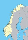 High detailed vector map of Norway with provinces. This map was traced using as reference NASA public domain Hi-res pictures from http://visibleearth.nasa.gov/view.php?id=74092  and treated in Illustr